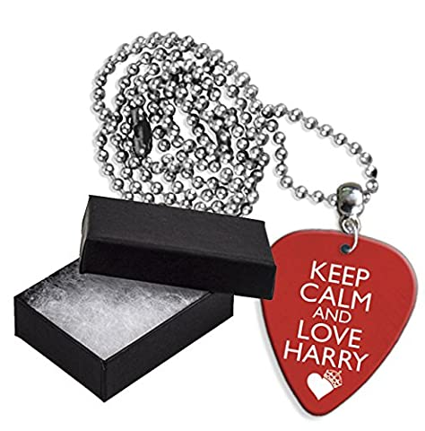 Keep Calm And Love Harry Styles One Direction Boxed Metal Guitar Pick Necklace Collier Médiator (GD)