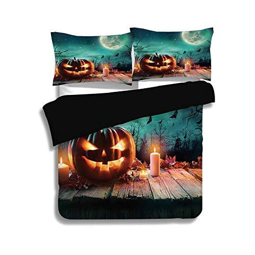 Set, Halloween, Fantastic Magic Night Spooky Atmosphere Candles Kürbis auf Holzbohlen drucken, Multicolor, dekorative 3-teiliges Bettwäscheset von 2 Pillow Shams, TWIN-Größe ()