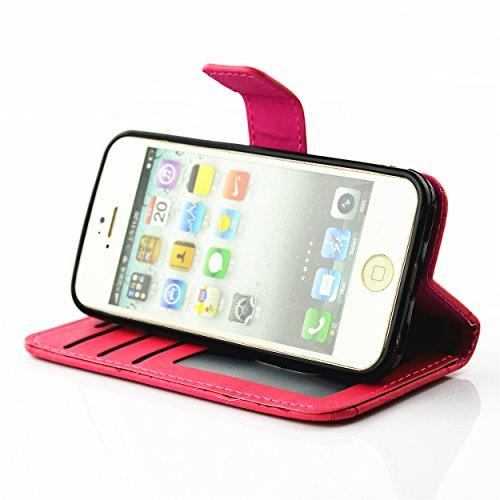 PU Coque Cuir Pour Apple iPhone 5C, Fermeture Aimantée fente pour carte Wallet de Motif Imprimé Étui Housse en Cuir Ultra-mince Avec La Fonction Stand Pour Apple iPhone 5C +Bouchons de poussière (7AA)