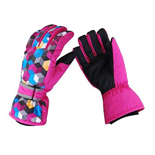 Eizur Kinder Erwachsene Skihandschuhe 3D Snowboard Handschuhe Thinsulate Ski-Handschuhe Thermohandschuhe Skibekleidung Elastische Bündchen Herren Damen Geschenk für Freien Skilaufen Wandern Bergsteigen Radfahren Fahren Reiten Snowmobile Motorradfahren Größe XS-XL (Blau / Rose)