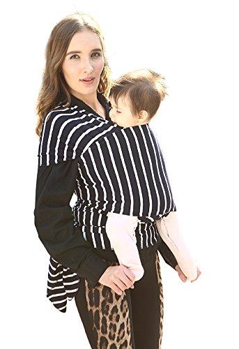 Fular Portabebés Elásticos Portador Llevar al Bebé Recién Nacidos De Algodón Pañuelo Portabebe Hasta 44 lbs/21kg Seguridad Cómodo Funcional Raya Negro-blanco