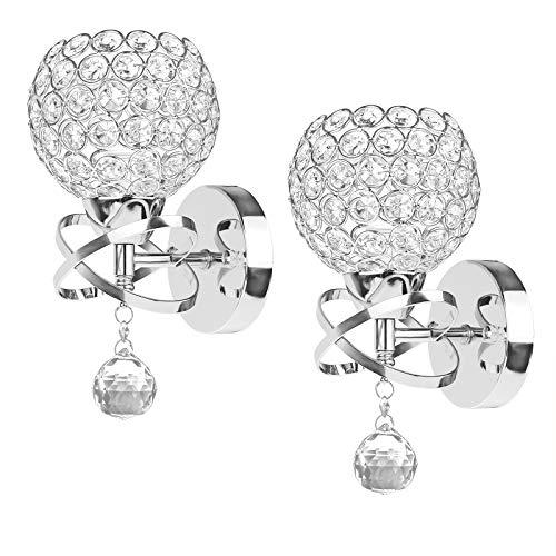 ALLOMN Moderne Stil Kristall Anhänger Wandleuchte Schlafzimmer Gang Wohnzimmer Wandleuchte Halterung E14 Sockel 2PCS (Silber)
