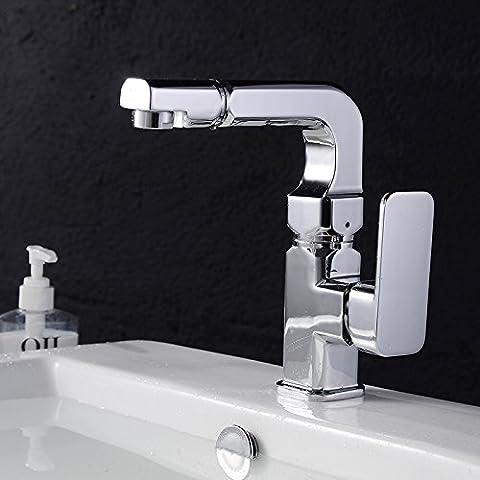 BFDGN Semplice Morden durevole e robusto il rame spazzolato per rubinetti lavandini bagno In acciaio inossidabile riscaldata a caldo e a freddo Rubinetti per lavandini bagno (Dare 1/2 Hot &a freddo dei tubi flessibili acqua )