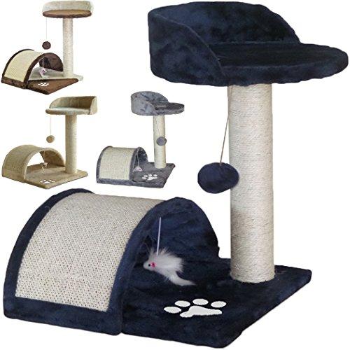 Tiragraffi per gatti alto 52 cm. base 40 x 40 cm (il piu' grande online) graffiatoio parco giochi gioco gatto sisal cuccia albero tira graffio palestra - blu