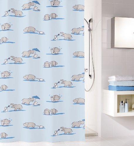 """Duschvorhang von """"KLEINE WOLKE""""-Modell """"NICO""""-180x200cm-PEVA Duschvorhang-Wasserdicht-Farbe:hellblau mit Motiven (Nilpferden)-Maschinenwaschbar-Lange"""