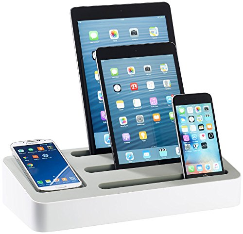 Callstel Ladestation: 4in1 Ladeständer mit 5-Port-Netzteil f. Tablets & Smartphones (Handy Laden)