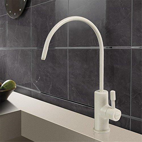 Moderne einfache kupferne heiße und kalte Küchenspüle klopft Küchenhahn an Küche reinen Wasserhahn Edelstahl Waschbecken Universal gerade Trinkwasser Waschbecken einzigen kalten Wasserhahn Sandfarbe -