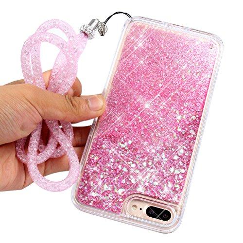 iPhone 7Plus Glitter Case, iPhone 7Plus Liquid Case with Sparkle Bling Crystal Strap, Luxury trasparente Hard PC Portafoglio + Soft Silicone Bumper Protective Cases Cover, edaroo Creative Liquid Gli Pink