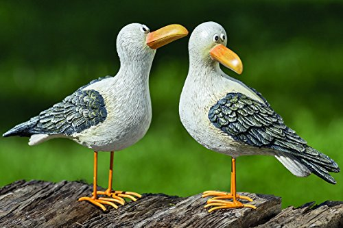 Pair of Seagulls Set Garden Decorative Figures Outdoor Synthetic Resin 15cm