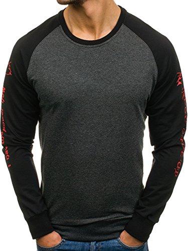 BOLF Herren Pullover Sweatshirt Langarmshirt Sport MIX Dunkelgrau_0910