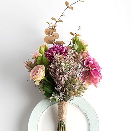 ZHUDJ Künstliche Blumen Künstliche Blumen Braut Blumenstrauß aus Rosen Hände Hochzeit Blume Salon Ornamente