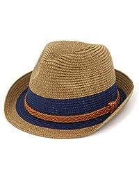 Screenes Unisex Summer Jazz De Sombrero Playa Paja Sombrero De Sol Estilo  Simple Padre Niño Casual Panamá Gorra De Cáñamo Cuerda De… fecb3b61dbb