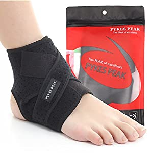Ankle Support Brace - Quality Breathable Mesh Material with Open Heel & Adjustable Tightness - Supports Protects & Aids in the Natural Recovery of Ankle Strains Sprains Arthritic Pain Relief - Perfect for most sports - Running Football Rugby Basketball Vo