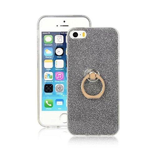 EKINHUI Case Cover Luxus Bling Sparkle Style Case, Soft TPU [Silikon] Flexible Glitter Back Cover mit Fingerring Stand [Anti Scratch] [Shockproof] für iPhone 5 & 5s & SE ( Color : Gold ) Black