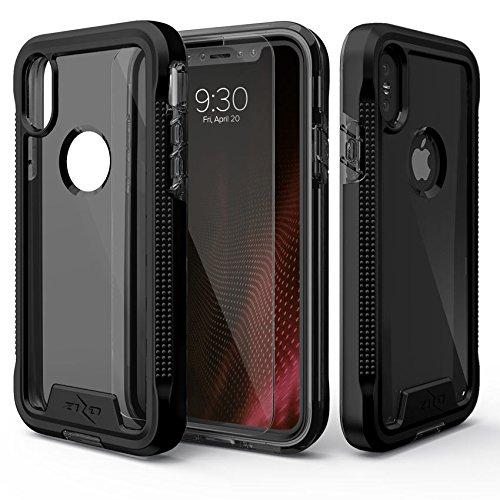 Zizo Coque avec Protection d'écran en Verre Trempé pour iPhone X Noir/Fumée