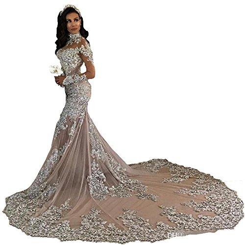 Changjie Damen Meerjungfrau Brautkleider Hochzeitskleider Prinzessin Lange ?rmel