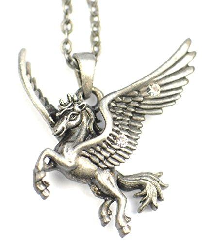Mystischer Gefährte Amulett Halskette, Pegasus das geflügelte Pferd der Götter, für Inspiration und freies Denken
