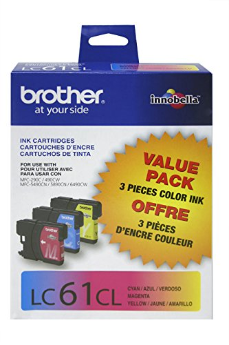 LC613PKS (LC-61) Ink, 500 Page-Yield, 3/Pack, Cyan; Magenta; - Lc61 Tintenpatronen Brother