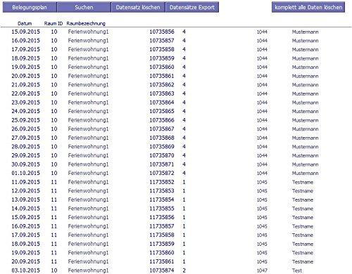 PROF-BP-2.0 Belegungsplan Status Reserviert Anzahlung Bezahlt Betrag Belegungsliste Ferienhäuser Ferienzimmer Ferienwohnungen Fremdenzimmer bis Parkplatz Zimmervermietung Windows MacOS High Sierra - 3