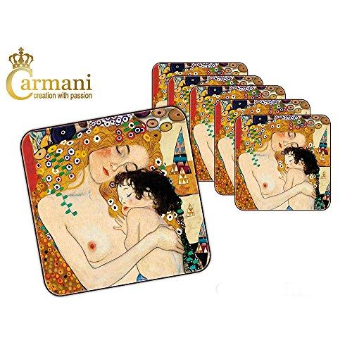 CARMANI - Set von 6 Stück Kork-Pad / Untersetzer von Gustav Klimt dekoriert mit
