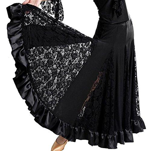 Verkauf Tanz Wettbewerb Kostüme (Byjia Damen Rock Langes Swing Kleid Modern Waltz Tango Lace Röcke Standard Ballroom Party Dance Wettbewerb . Black .)