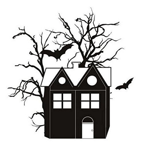 Xshuai Guter Verkauf glücklicher Halloween-Haushalt-Kürbis Gohast Hexe-Raum-Wand-Aufkleber-Wand-Dekor-Abziehbild entfernbares neues (A: 58cm * 42cm B: 42cm * 41cm C: 61cm * 59cm D: 76.6cm * 66.6cm) (Schwarz)