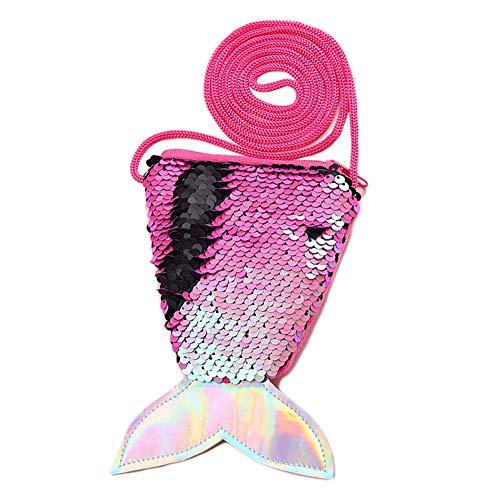 Pailletten geldbörse Pailletten Meerjungfrau Brieftasch Aufbewahrungstasche Geldbörse Umhängetasche für Damen und Mädchen (Meerjungfrau-dekor Die Kleine)