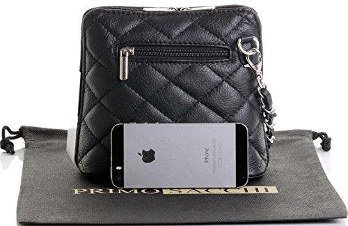 Italienische schwarze Leder klein/Micro gesteppte Umhängetasche Handtasche mit Metallkette und Leder, Riemen umfasst eine Marke schützenden Aufbewahrungstasche Schwarz Gesteppt