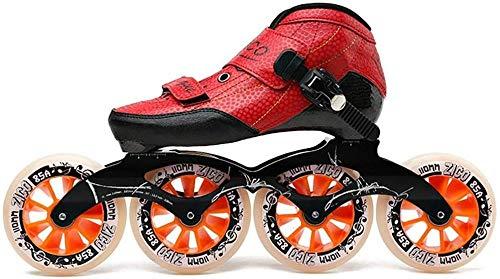NNJJGS Adult Professional Inline Skates 4 * 90-110MM Räder Professional Carbon Rollerblade Für Kinder Inline Speedskates,Red-37