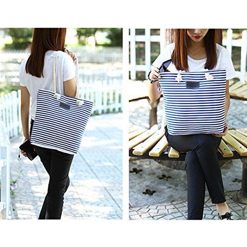 La haute da donna a righe tela borsetta Three-color cuciture borsa a tracolla, Blue (blu) - LHTE-301 Grey