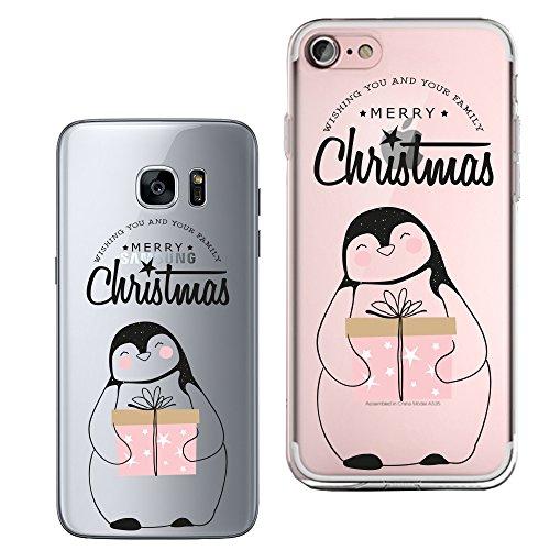 Original Lanboo® Silikon Case #3 Motiv 12 - Für Samsung Galaxy S6 Design Druck Tasche Hülle Cover Etui Cartoon Disney Weihnachten Geschenk Merry Christmas Pinguin Überraschung