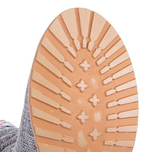 VogueZone009 Femme Haut Demi Brodé Tire Rond à Talon Bas Bottes Gris