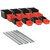 19-teilig Werkzeugwand Wandregal Lagerregal Lagersichtkästen Set Boxen und Wandhalterungen Stapelboxen Sichtboxen Lagersichtboxen Regal