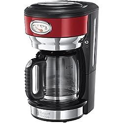 Russell Hobbs 21700-56 Machine à Café, Cafetière Filtre 1,25L Retro 1000W, Rapide, Plaque Chaude, Design Vintage - Rouge