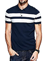 Scatchite Men's Half Sleeve Navy Blue With White Contrast Striped Polo T-Shirt