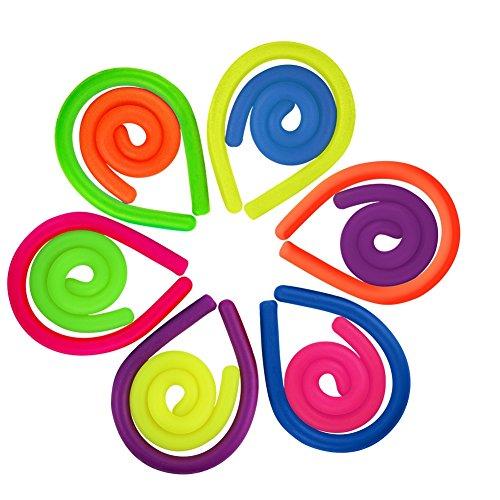 Kbnian 12 Stück Sensorische Fidget Stretch Spielzeug Schnur Spielzeug für Kinder, Adluts, Angst, Druck, Autismus, ADHS, Aufmerksamkeitsspanne Bunt