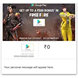Get Upto Rs.500 Bonus in FreeFire||Google Play Gift Code - Digital Voucher