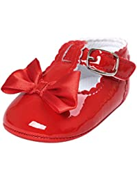 Jamicy Baby Girls Princess Bowknot Design Leather Soft Sole Casual Shoes (0~6 Month, Red)