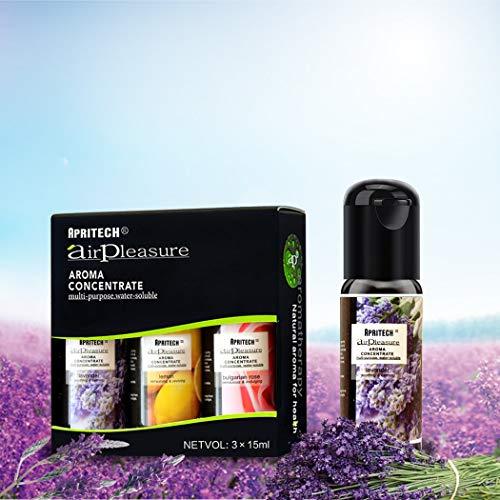 APRITECH® olio essenziale Di Altissima Qualità, Aromaterapia oli essenziali Umidificatore Oli Kit, Puri Al 100% essential oil 3x15ml(Lavanda + Limone +rosa bulgara)