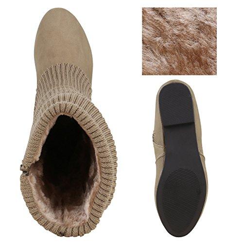 Gefütterte Klassische Damen Stiefel Stulpen Strass Blockabsatz Khaki Khaki