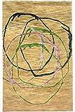 Morgenland Design Teppich 243 x 152 cm Wollteppich Beige Handarbeit Modern