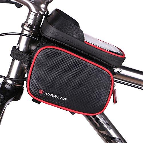 Fahrrad Rahmen Beutel, Wasserdichter Fahrrad Rahmen Schlauch Beutel 6.2 Zoll Screen Telefon Kasten Doppelt Beutel Gebirgsstraße, die Vorderen Beutel Satz Radt Rot