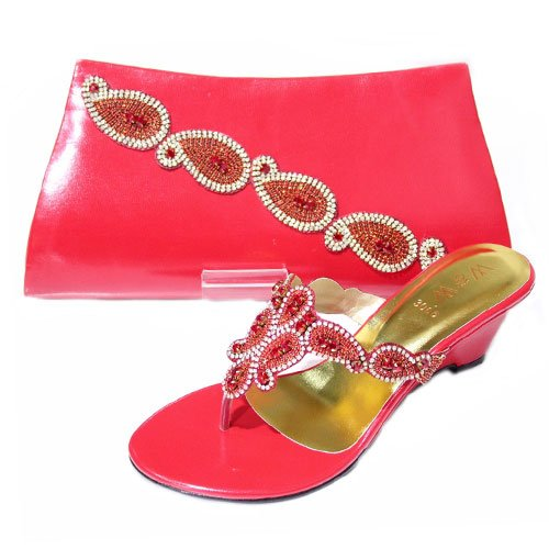W & W Femme Cristal Diamant Chaussures & Taille Assortis (noir, jaune, argent, rouge) MOLLY & TASS Rouge - rouge