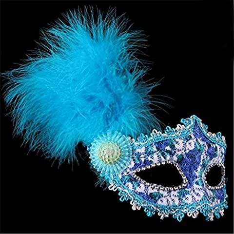 Halloween Mask Masquerade Painted Feather Lace Party Belle Princesse Masques,Bleu