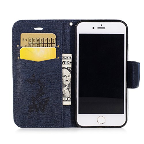 Coque iPhone 7, iPhone 7 Coque Portefeuille, SainCat Pochette Portefeuille en Cuir Véritable Coque de Protection Housse, Leather Case Wallet Cover Flip Protective Cover Skin Housse, Coque de Protectio bleu marine #1