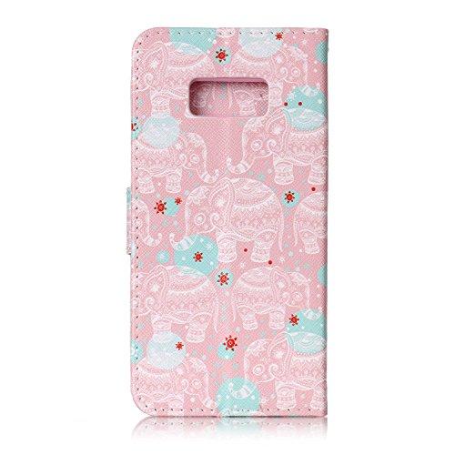 FESELE Lederhülle für [Samsung Galaxy S8] Leder Flip Case, Lanyard Strap Flip Brieftasche Ledertasche im Bookstyle Handyhülle mit Standfunktion Kartenfach Bunt Leder Butterfly Case Muster Silikon Rück Tier Elefant