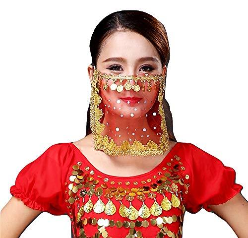 Lovelegis Odalisque Gesichtsschleier - Bauchtanz - Zubehör - Karneval - Mädchen - Frau - Mädchen - Rot und Goldfarbe - Geschenkidee für Weihnachten und Geburtstag