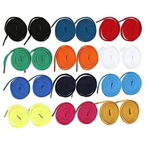 12 Paar flache breite Schuh-Schnürsenkel für Freizeitschuhe, Segeltuchschuhe, Wiedereinbau-Schnürsenkel für viele shose Arten. (140 cm, Gelegentliche Farbe)