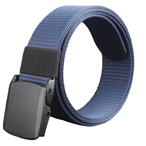 Tonsee® Wild-Men-Toile-Belt-Hypoallergénique-métal-plastique-libres automatique-Buckle (bleu)