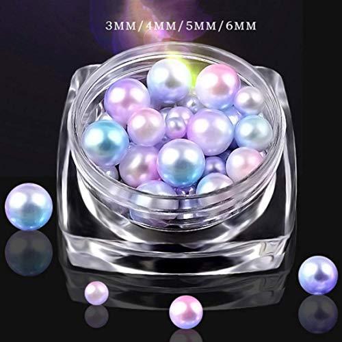 Yuzhougj Vertrauenswürdige Meerjungfrau Perlen Gemischte Größen Farbverlauf Perlen Symphonie Bunt 3D Nagelkunst Dekoration Schmuck Neuester Im Fein Stil - Ein